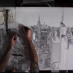 アーティストが黒いペンだけで「ニューヨーク」の街を描いていく早送り動画