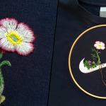刺繍で装飾された世界的に有名なスポーツブランドのロゴ