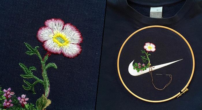 刺繍で装飾したスポーツブランドのロゴ