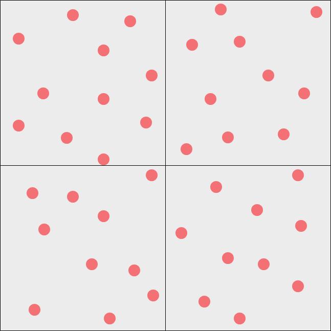 区切り枠によって4分割された場合