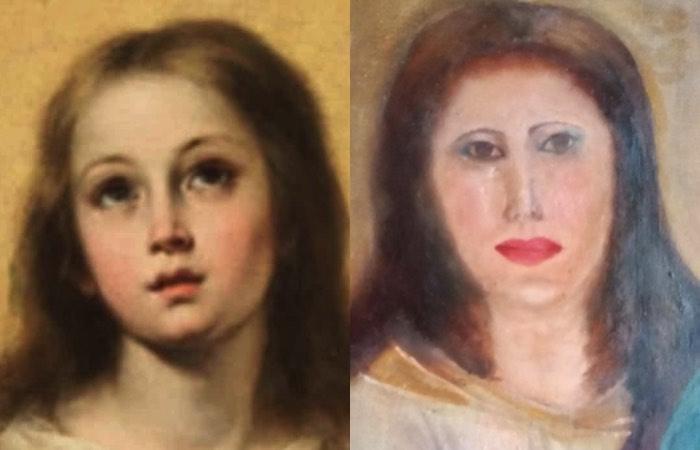 貴重な17世紀の聖母マリアの絵画、修復に大失敗