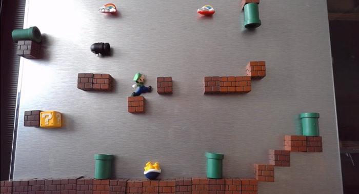 冷蔵庫のマグネットでスーパーマリオを完全再現したストップモーションアニメ