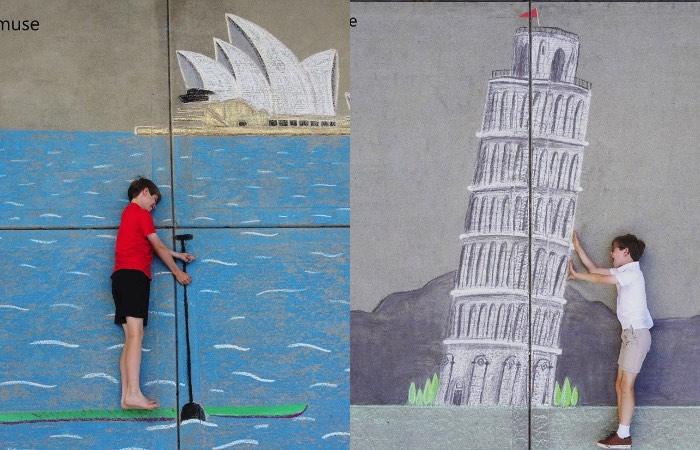 お姉ちゃんが描いたチョークアートで弟が海外旅行